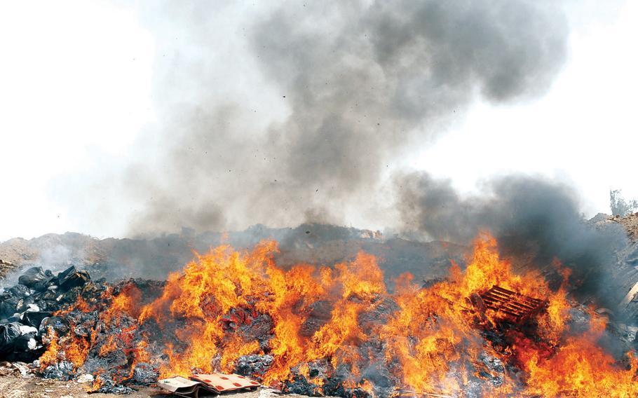 A burn pit at Balad Air Base, Iraq, in 2008.