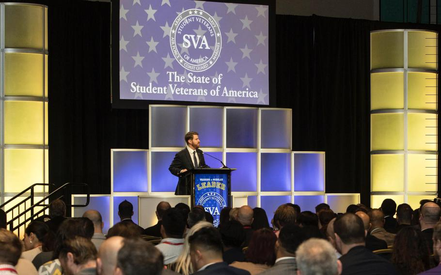 """Student Veterans of America CEO Jared Lyon addresses attendees at the group's national convention in Orlando, Fla., on Friday, Jan. 4., 2019. Lyon said the country is facing an """"unprecedented leadership deficit"""" that he argued could be filled by young, educated veterans."""