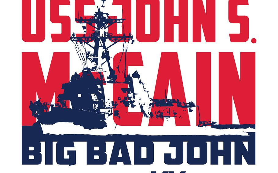 The design on the shirt paying tribute to the USS John S. McCain.