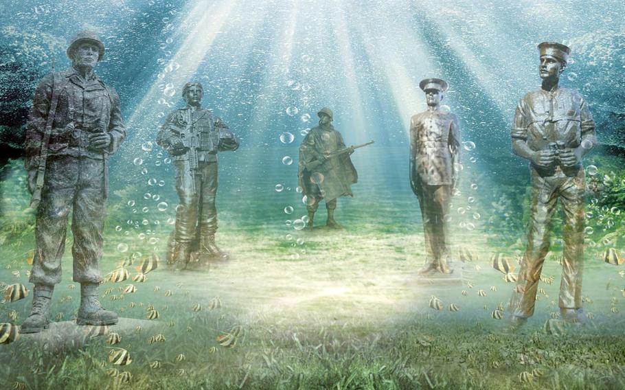 An artist's sketch of the underwater Circle of Heroes Veterans Memorial.
