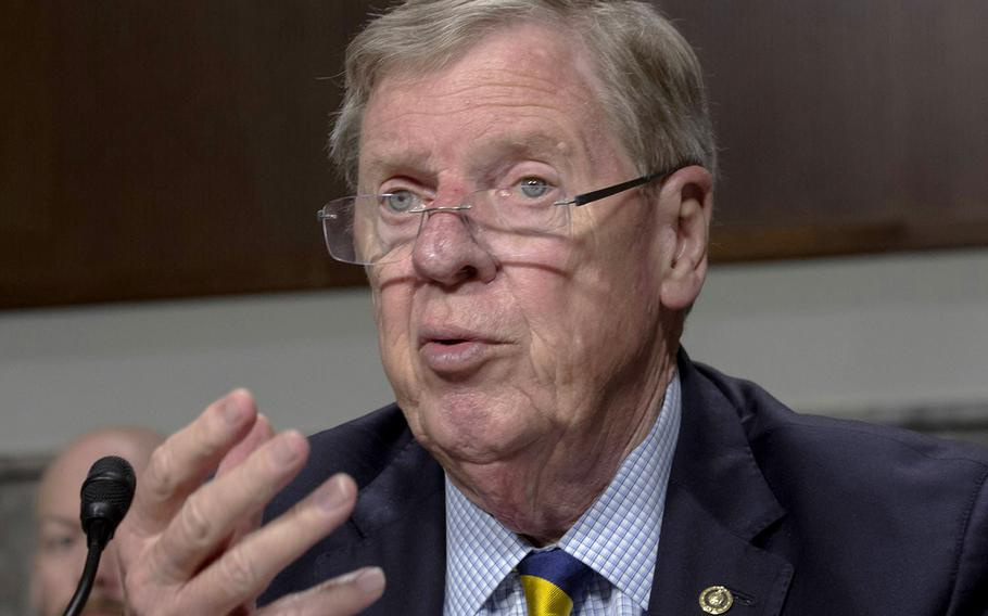 """Senate Veterans' Affairs Committee Chairman Johnny Isakson, R-Ga., seen here in a 2018 photo, says he is """"shocked, horrified and downright maddened"""" by what happened to veteran Joel Marrable."""