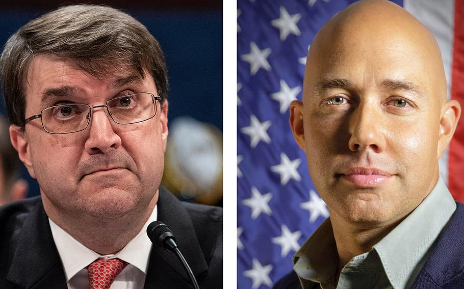 VA Secretary Robert Wilkie, left, says Rep. Brian Mast, R-Fla., right, misled the public over Mast's eviction from his congressional office inside a VA hospital.