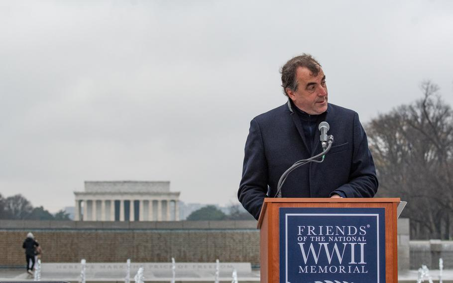 """As part of the World War II Memorial's Battle of the Bulge 75th Anniversary Commemoration, a wreath-laying with representation from Allied nations took place on December 16, 2019.  Alex Kershaw, author of """"The Longest Winter: The Battle of the Bulge and the Epic Story of World War II's Most Decorated Platoon,"""" was Master of Ceremonies."""