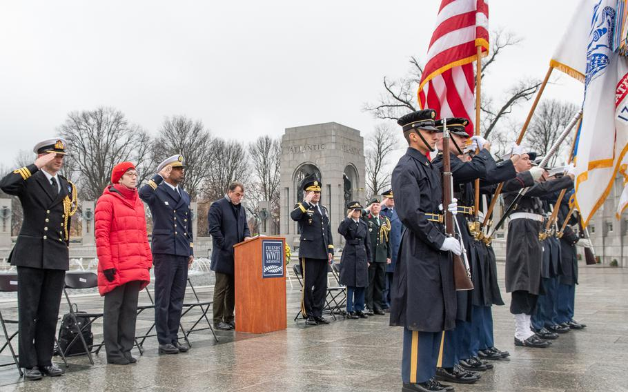 As part of the World War II Memorial's Battle of the Bulge 75th Anniversary Commemoration, a wreath-laying with representation from Allied nations took place on December 16, 2019. Here, the United States Armed Forces Color Guard participates.