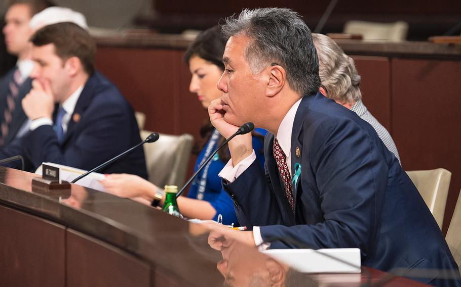 House Veterans' Affairs Committee Chairman Mark Takano, D-Calif., listens to testimony on Wednesday, Feb. 5, 2020, during a hearing in which members examined how the VA supports survivors of military sexual trauma.