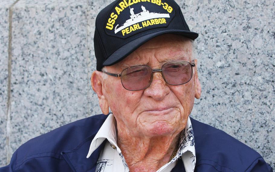 USS Arizona survivor Donald Stratton visits the World War II Memorial in Washington, D.C., on July 20, 2017.
