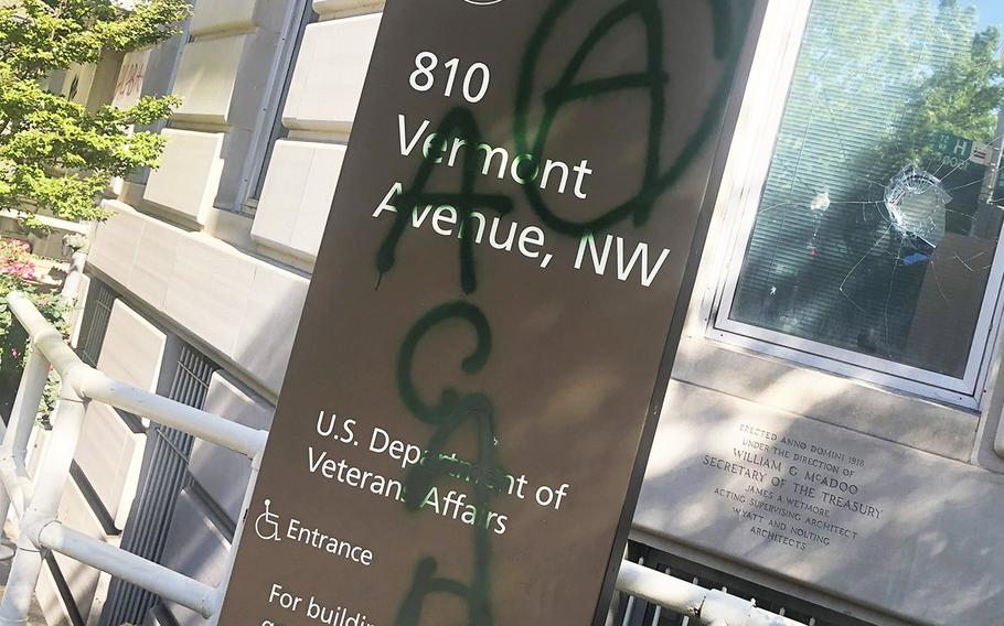 Damage at the Department of Veterans Affairs headquarters in Washington, Sunday, May 31, 2020, after a night of protests.