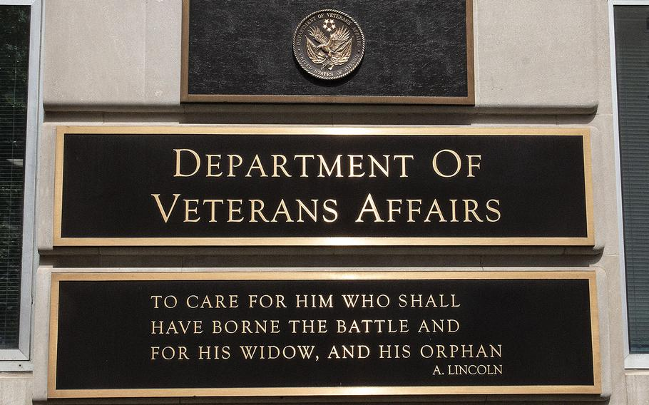 Abraham Lincoln's quotation about veterans, seen on the Department of Veterans Affairs headquarters in Washington, D.C., June 3, 2020.