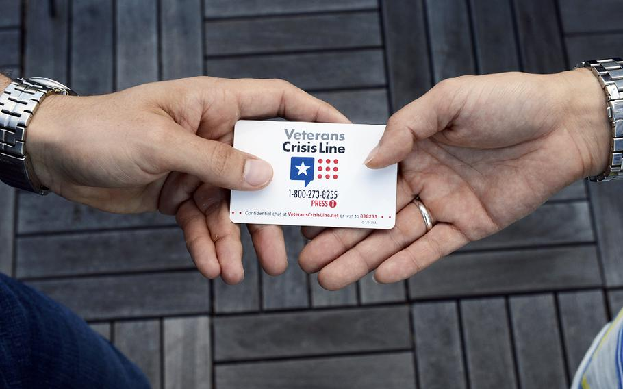 Veterans in crisis, or their families, are urged to contact the Department of Veterans Affairs Veterans Crisis Line. Dial 1-800-273-8255, and then press 1, or text the crisis line at 838255. An option to chat online is available at veteranscrisisline.net.