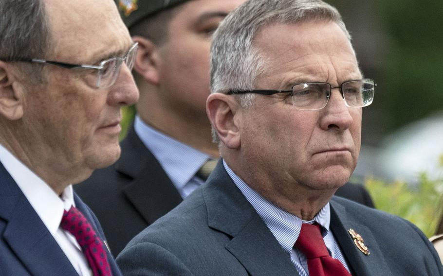 Rep. Mike Bost, R-Ill., right, at an April, 2019 Capitol Hill press conference on military suicide. At left is House Veterans' Affairs Committee Ranking Member Phil Roe, R-Tenn, who Bost has been chosen to replace as the panel's top Republican.