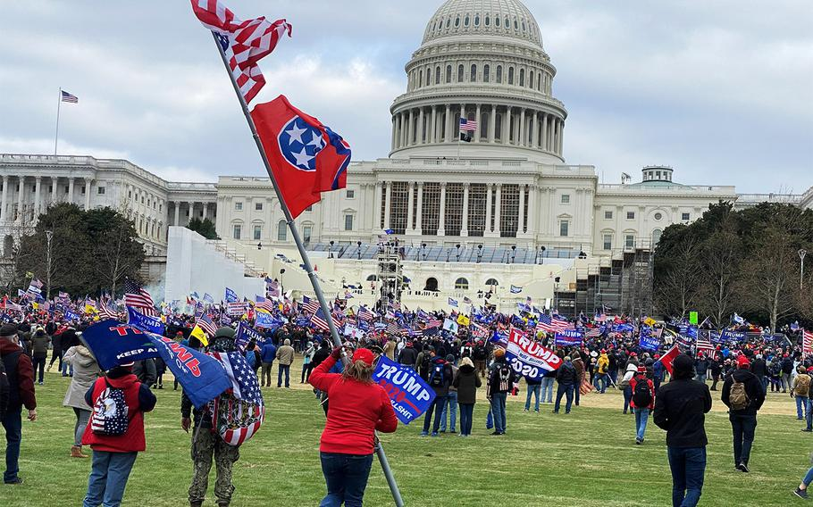 Supporters of President Donald Trump outside the U.S. Capitol on Jan. 6, 2020.