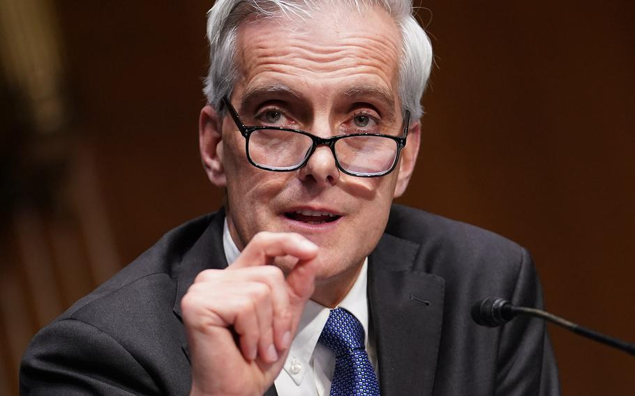 Secretary of Veterans Affairs nominee Denis McDonough speaks during his confirmation hearing before the Senate Committee on Veterans' Affairs on Capitol Hill, Wednesday, Jan. 27, 2021.