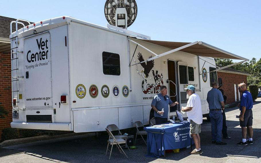One of the VA's mobile Vet Centers is set up at Beaumont, Texas, in the wake of Hurricane Harvey in 2017.