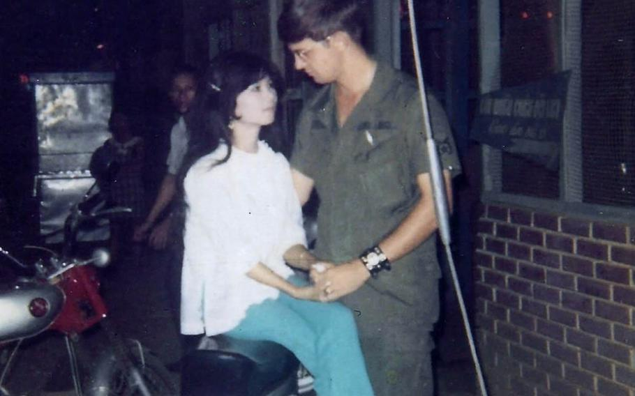 Air Force veteran Jim Reischl is pictured with his then-girlfriend Nguyen Thi Hanh, during his tour to Tan Son Nhut Air Base, Vietnam, from 1969-70.