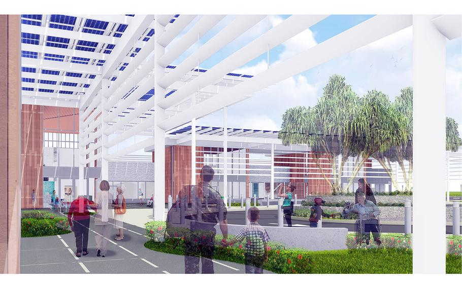 An artist's rendering of a multispecialty Veterans Affairs clinic expected to open in Honolulu, Hawaii, in fall 2024.