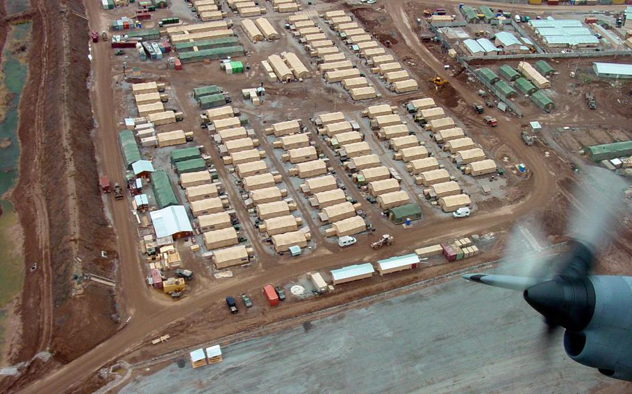 An aerial shot of Camp Stronghold Freedom at Karshi-Khanabad Air Base in Uzbekistan in 2002. Hundreds of veterans who have had cancer believe it was caused by exposure to toxins at the base.