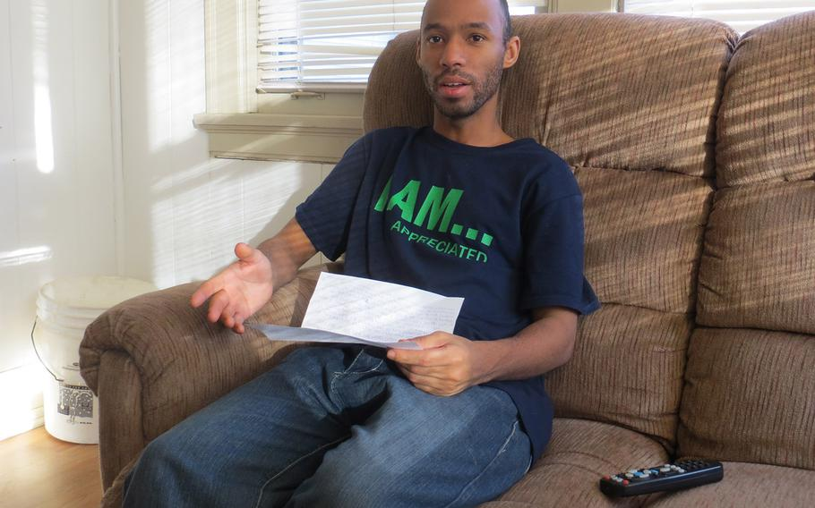 Greg Johnson, an Iraq War veteran, recounted how he wound up homeless and living in a Cadillac last summer in Toledo, Ohio. He was able to move into an apartment in September with the help of Veterans Matter, a Toledo-based nonprofit that pays the rent deposits of homeless veterans.