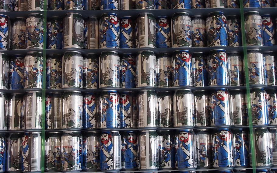 Cans of King???s Mountain Scotch Ale at Heritage Brewing Co., a veteran owned business in Manassas, VA, outside of Washington, DC. The brewery is one of many being launched by post-9/11 veterans.