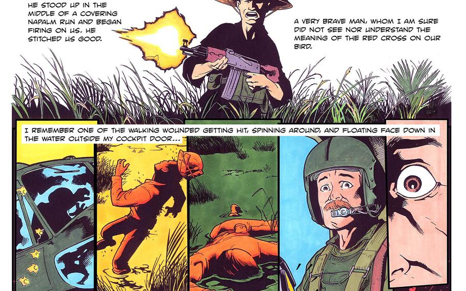 """Art by J.W. Erwin from """"Plain of Reeds,"""" the story of a Vietnam War-era helicopter ambulance pilot, was published in volume two of Full Mag: Veteran Stories Illustrated."""