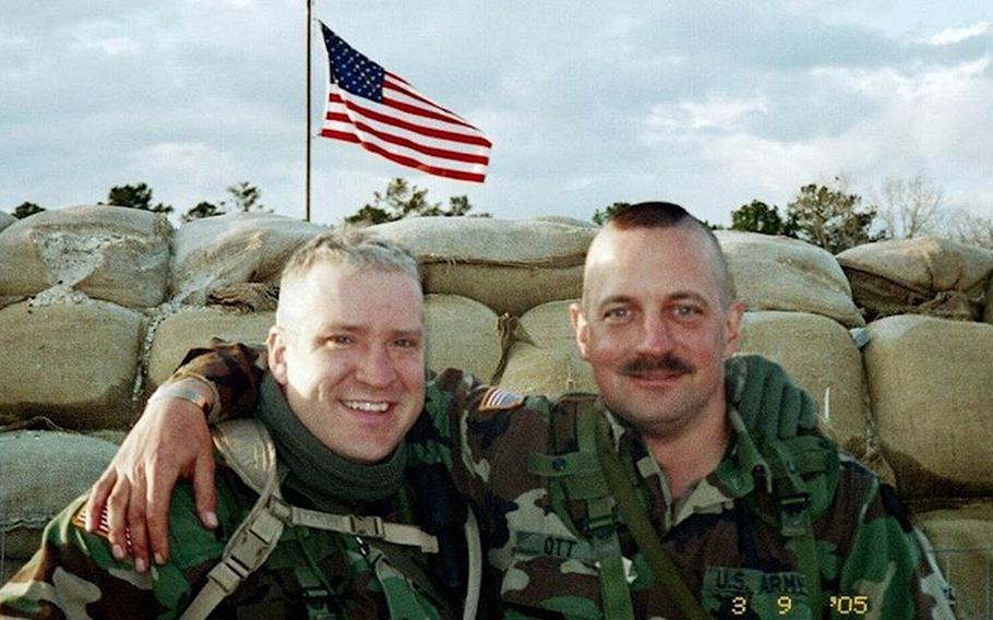 David Ott, right, is pictured as a staff sergeant in this photo dated March 9, 2005, with physician's assistant Capt. Ryan Quinn. Ott was awarded a Purple Heart medal in January 2020, 14 years after suffering a traumatic brain injury in Iraq.